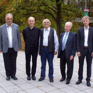 v.l.n.r. Prodekan Prof. Timo Weidl, Prof. Michael Kohler, Prof. László Györfi, Prof. Harro Walk, Prof. Ingo Steinwart