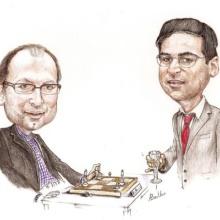 Zeichnung mit Christian Hesse und Viswanathan Anand